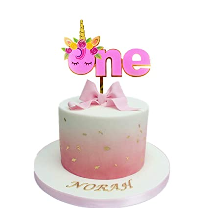 JeVenis Handmade Glitter Unicorn First Birthday Cake Topper 1st Decoration For Party Supplies