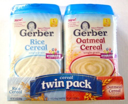 Gerber Cereal Twin Pack- 2 16 oz Plastic Canisters-Rice/Oatmeal Single Grain