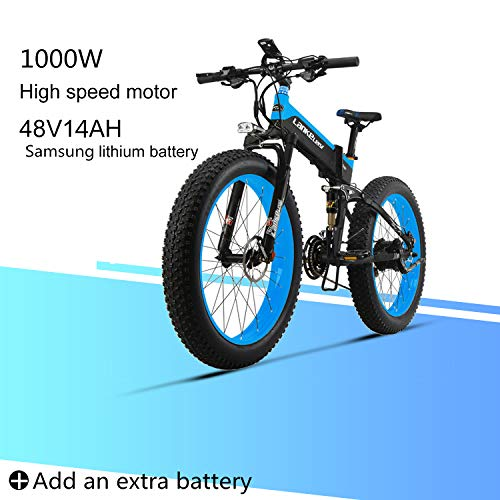 LANKELEISI XT750 Plus 48V 10AH 500W Engine New Almighty Powerful Electric Bike 26 '' 4.0 Fat tire E-Bike 27 Speed   Snow MTB Folding Electric Bike for Adult Female/Male (Blue + 1 Extra Battery)