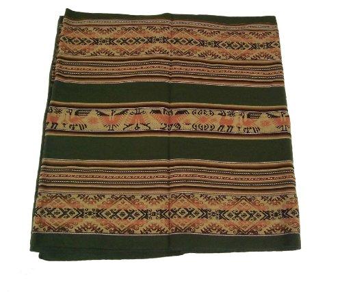 Alpakaandmore Original Peruvian Manta Fabric 250 X 130 Cm Pieces (Green)