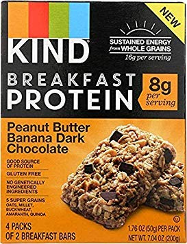 Kind Breakfast Protein Bar Peanut Butter Banana Dark Chocolate, Total Weight 7.04 oz (Pack of 2) ()