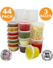 [36 Pack] Food Storage Containers with Lids, Round Plastic Deli Cups, US Made, 8, 16, 32 oz, Cup Pint Quart Size, Leak Proof, Airtight, Microwave & Dishwasher Safe, Stackable, Reusable, White