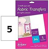 Avery Zweckform MD1001 Textilfolien für helle Textilien (A4, 210 x 297 mm) 5 Blatt