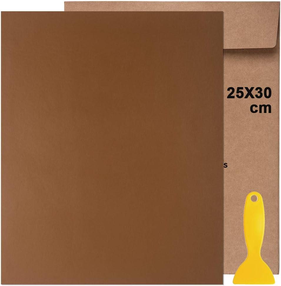 Kit de Parche de Piel,Parches de Piel Cuero Artificial, para Sofá Asientos de Coche Pegatina de Reparación de Polipiel Parches,25 cm x 30 cm (Café mediano 1pcs)