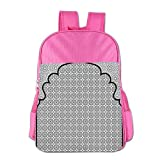 Haixia Youth Boy's&Girl's School Backpack Moroccan Arabian Art Background with A Group of Traditional Turkish Ottoman Forms Patterns Full Black White