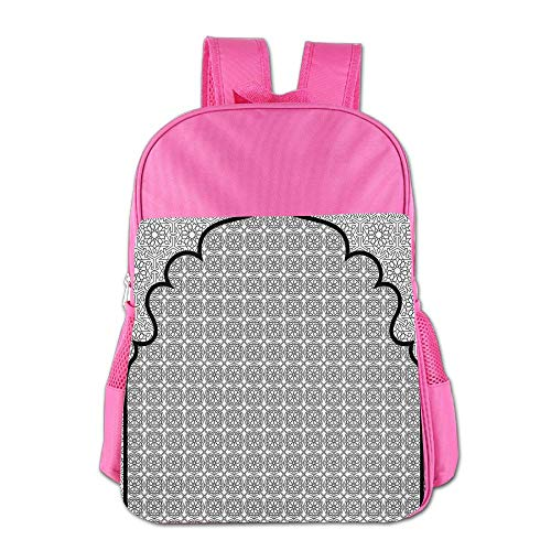 Haixia Youth Boy's&Girl's School Backpack Moroccan Arabian Art Background with A Group of Traditional Turkish Ottoman Forms Patterns Full Black White by Haixia
