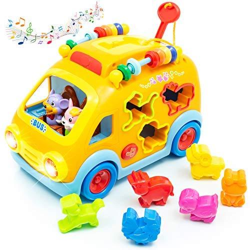 Zenteck Musical Bump 'N Go Yellow School Bus Toy