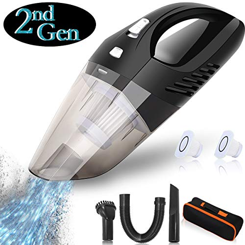 Handheld Vacuums Cordless Car Hand Vacuum Cleaner 2500mAh Rechargeable Battery Powered Lightweight Wet Dry Vacuum Strong Suction for Home Pet Hair Car Cleaning 【2nd Gen】
