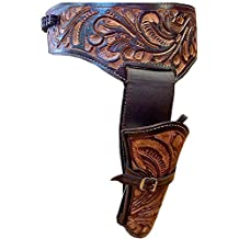 "NEW 44/45 Cal Tooled Holster Gun Belt Drop Loop LEATHER Western RIG SASS Cowboy Caliber 34""-52"""