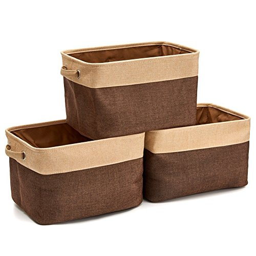 Bins Brown (Homcomoda Collapsible Storage Bin Basket 3 Pack Foldable Canvas Fabric Storage Cube Bin Set with Handles for Shelves Closet Magazine Basket – Brown)