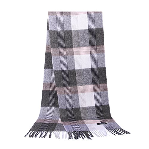 Saferin Women Men Cashmere & Lambwool Luxury Plaid & Warm Scarf White and Grey With Gift Box