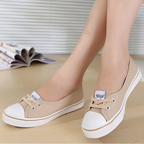 Minetom Mujer Chicas Moda Lona Zapatos Punta Redonda Tacón Plano Espadrilles Ocio Zapatos Azul Oscuro 37 D8z2yr
