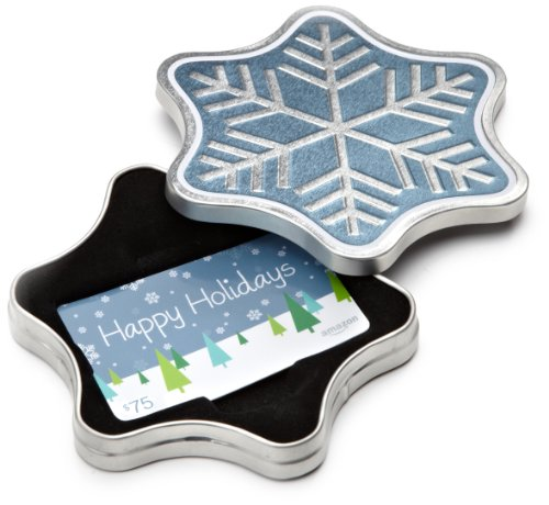 Amazon.com $75 Gift Card in a Snowflake Tin (Happy Holidays Card Design)