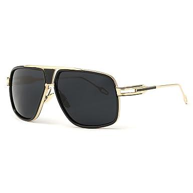 e0c4f3cd1a Kimorn Sunglasses For Men Retor Goggle Metal Frame Classic Eyewear AE0336  (Gold Black
