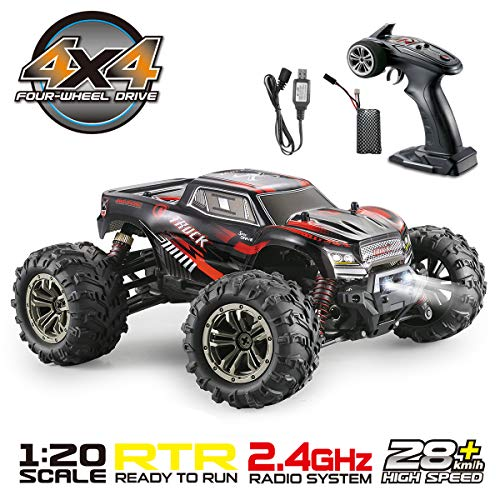 Hosim 1:20 Scale Remote Control RC Car 9145, 28km/h Fast Speed All Terrain RC Truck, Off Road RC Monster Truck, 2.4Ghz Radio Controlled Electric Hobby Car for Kids and Adults (Red)