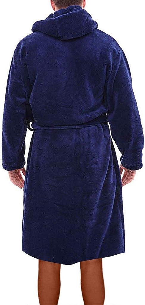 Zarupeng Herren Fleece Bademantel mit Kapuze Winter Pl/üsch Verdicken Lange Saunamantel Morgenmantel Plus Size Home Kleidung Langarm Robe Coat