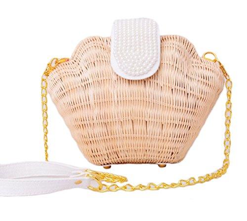 Personnalité féminine Myll sac de rotin sac sac de paille tissu plage Diagonal Shell ananas sac sac bouche, rose orange