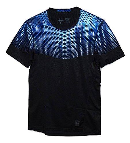 Nike Men's Pro Hypercool Max Fitted Training Top-Black/Deep Royal Blue-Medium