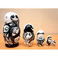 Russian Nesting Doll The Nightmare Before Christmas Jack Skellington. Set of 5 Piece. Hand-Painted in Russia.