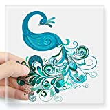 CafePress Teal Peacock Square Sticker 3' X 3 Square Bumper Sticker Car Decal, 3'x3' (Small) or 5'x5' (Large)