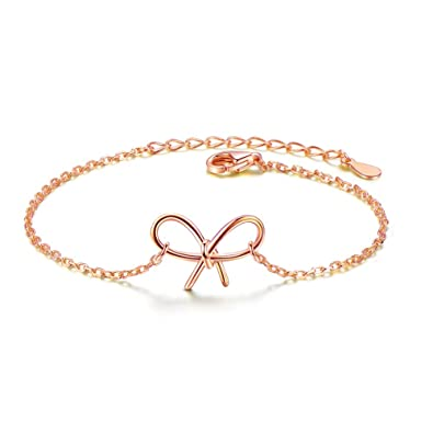 82227e5cae0419 Image Unavailable. Image not available for. Color: Metzakka Sterling Silver  Friendship Bracelet, Best Friend Bowknot Charm Rose Gold Plated ...