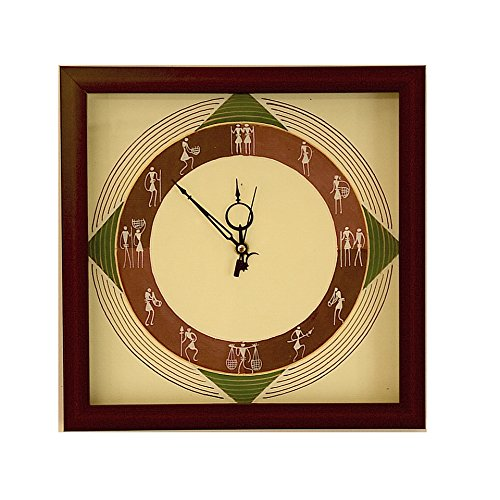 IMI Handmade Crafted Pure Saura Art Wall Hanging Wall Clock