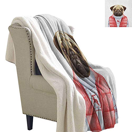 Suchashome Pug Throw Blanket Red Vest and Christmas Sweater on a Adorable Dog Hand Drawn Animal Fun Image Light Thermal Blanket 60x78 Inch Pale Brown Red -