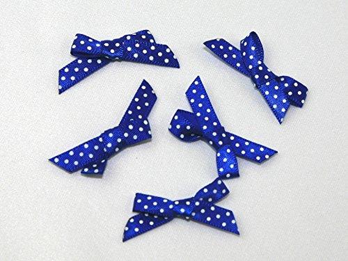(Polka Dot Satin Ribbon Bows Royal Blue/White - each)