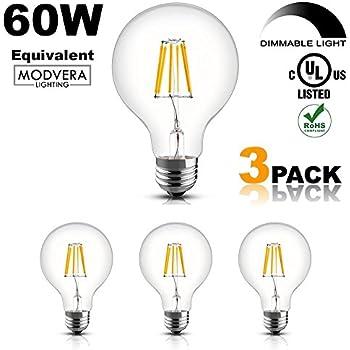 3 Pack   Modvera 60W Equal G25 LED Light Bulb Decorative Bathroom Vanity  Globe Light Bulb