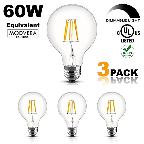 3 pack - Modvera 60W Equal G25 LED Light Bulb Decorative Bathroom Vanity Globe Light Bulb 60 Watt Equivalent Uses Only 6 Watts, Dimmable, Clear Glass - 60w Clear Glass