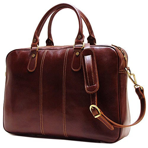 Floto Venezia Slim Brown Briefcase Attache Lap-top Case by Floto