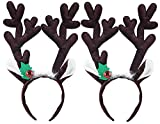 Fascigirl 2 Pack Reindeer Antlers Headband Headwear for Holiday Party