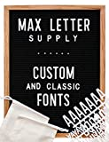 Black Felt Changeable Letter Board 12x16 Inches | Custom Large 100% Recycled Letters, 300+ Small Letters, and Oak Stand | by Max Letter Supply