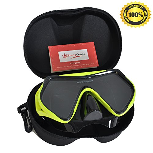 Scuba Snorkeling Diving Mask with Protective Case - Anti-Fog Glass - Leak-Proof Silicone Mask (Deep Scuba Diving)