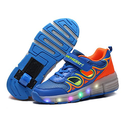 Outdoor with FOUPLER Girl's Roller Kid LED and Shoes Little Boy Wings Kid Up Skate Blue Light Wheels Big 7rHR7zxwq