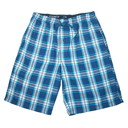 Hanes Men's Cotton Madras Drawstring Sleep Pajama Shorts, Small, Galapagos Blue]()