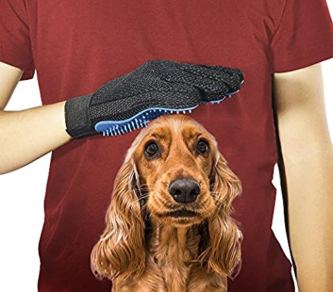 Pet Gromming Glove for Gentle Deshedding and Brushing. Efficient pet Hair Remover Mitt, Improved Five Finger Design for Massage. Ideal for Long & Short Fur of Dogs and Cats. A PAIR - Mag Trap