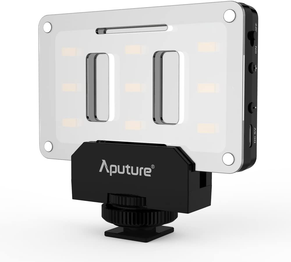 Aputure AL-M9 on Camera Light Pocket Sized LED CRI//TLCI 95 9 Steps Dimming 5500K Max 900lux Internal Battery with Micro-USB Charging