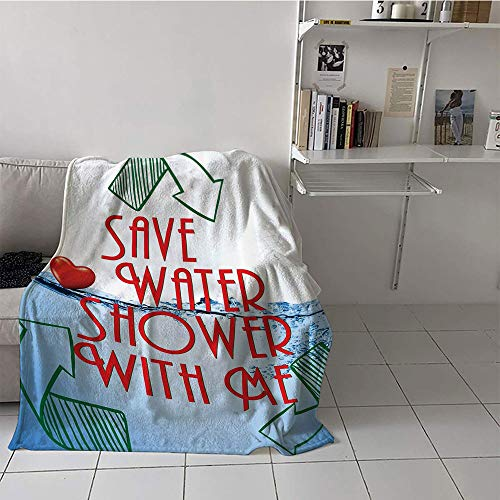 Children's Blanket (30 by 50 Inch,Funny Sexy,Invitation Save Water Shower with Me Sexy Decor Recycling Earth Lover Funny Heart Kinky Home Funny Couples Quote Adult,Red Blue Green White]()