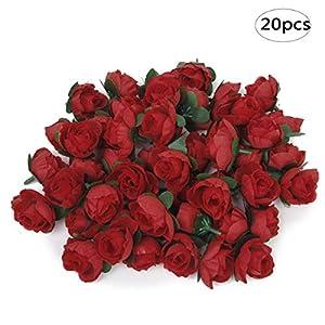 BinaryABC Artificial Rose Flower Heads,Valentine's Day Decoration,3cm,20Pcs 3