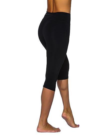 b43b222561aad Amazon.com: Unitop Women's Yoga Pants Contrast Color Workout Capris ...