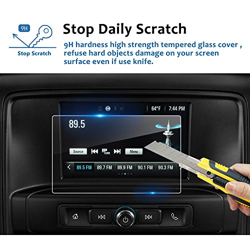 LFOTPP 2014-2018 Chevrolet Silverado 1500 7 Inch LTZ MyLink Car Navigation Screen Protector, [9H] Tempered Glass Infotainment Center Touch Display Screen Protector Anti Scratch High Clarity (7 Inch)