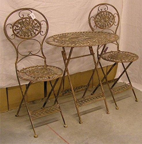 Jugendstil Gartenmöbel Set Kupferfarben - 1 Tisch, 2 Stühle - Metall ...