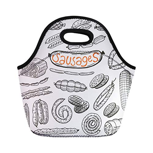 - Semtomn Lunch Bags Salami Drawn Sausages Freehand Food Meat Sketch Delicious Beef Neoprene Lunch Bag Lunchbox Tote Bag Portable Picnic Bag Cooler Bag
