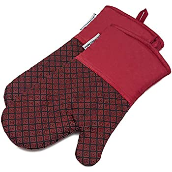 LA Sweet Home Silicone Oven Mitts Greek Key Pattern Heat Resistant Potholders Cooking Gloves Non-Slip Barbecue Gloves, Pot Holders as Gift 1 Pair (Red)