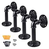 Industrial Black Iron Pipe Shelf Brackets, obmwang Pack of 4 Black Wall Mounted Floating Brackets Wall Mounted Rustic Pipe Brackets Shelves with Screw Accessories for Home Decor