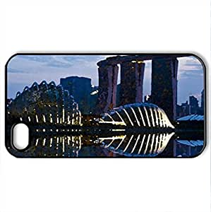 singapore night lights - Case Cover for iPhone 4 and 4s (Modern Series, Watercolor style, Black)