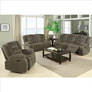 Coaster charlie motion 3 piece reclining sofa for 8 piece living room furniture set