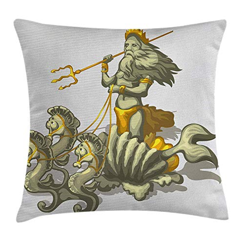 - KunYi Animal Decor Throw Pillow Cushion Cover by, Old Mythologic Character Triton in Shell with Seahorse Poseidon Greek God, Decorative Square Accent Pillow Case, 18 X 18 Inches, Green Golden