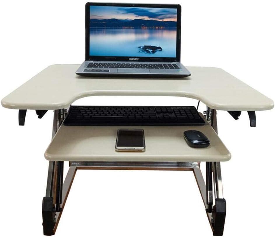 Hoge Kwaliteit JCNFA BIJZETTAFEL Desktop Stand Multifunctionele Tafel Lift Retractable Keyboard Foldable Beugel Laptop Desk, Single Screen C-X (Color : White maple) White maple K3uGp5y